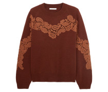 Crochet-paneled Cashmere Sweater Burgunder