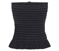 Sleeveless Shirred Cotton-poplin Top