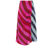 Paneled Ruched Striped Silk Crepe De Chine Midi Skirt