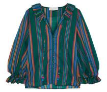 Allia Ruffle-trimmed Striped Cotton-voile Blouse