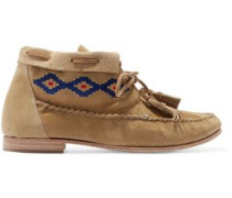 Embroidered nubuck mocassin ankle boots