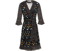 Georgette-paneled Ruffle-trimmed Polka-dot Silk-jersey Wrap Dress