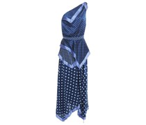 One-shoulder Polka-dot Silk-satin Maxi Dress
