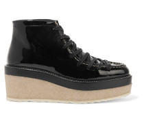 Lace-up Patent-leather Boots Schwarz