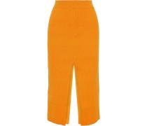 Split Textured Stretch-knit Midi Skirt