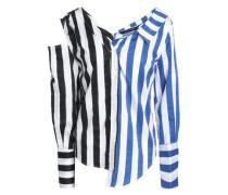 Asymmetric striped cotton-blend poplin shirt