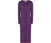 Striped metallic merino wool-blend midi dress