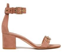 Sandalen aus Veloursleder mit Schnalle