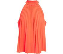 Woman Imani Pleated Neon Poplin Top Bright Orange