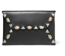 Embellished Leather Clutch Schwarz