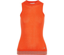 Jacquard-trimmed Silk And Cashmere-blend Tank
