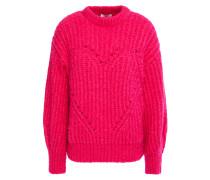 Pullover aus Rippstrick mit Pointelle-besatz