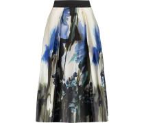 Pleated Printed Cotton-blend Skirt Himmelblau