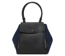 Textured-leather And Suede Tote