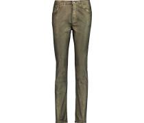 Mid-rise Metallic Skinny Jeans Gold