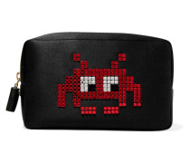 Space Invaders Crystal-embellished Satin Cosmetic Case Schwarz