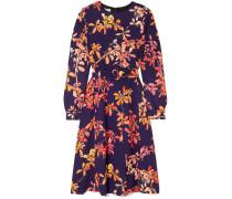 Dicina Belted Floral-print Crepe Midi Dress