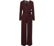 Edith Wrap-effect Printed Stretch-jersey Jumpsuit