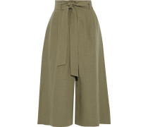 Belted Pleated Canvas Culottes