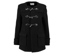 Makao Leather-trimmed Wool-blend Coat Schwarz