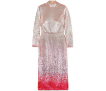 Opia Open-back Dégradé Sequined Stretch-crepe Midi Dress