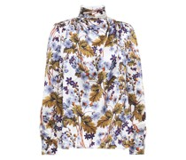 Draped Floral-print Silk-satin Blouse