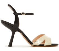 Smooth And Metallic Snake-effect Leather Slingback Sandals