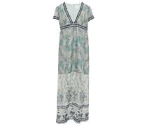 Printed Metallic Fil Coupé Silk-blend Maxi Dress