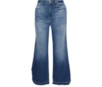 Distressed Mid-rise Wide-leg Jeans