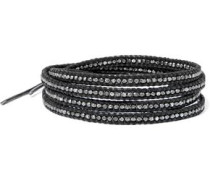 Silver-plated beaded leather bracelet