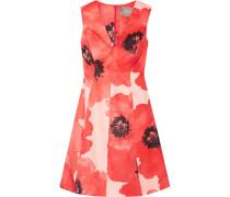 Floral-print Silk-gazar Dress Papaya