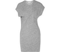 Loretta Gathered Slub Cotton And Wool-blend Mini Dress Hellgrau