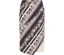 Asymmetric Printed Scuba Midi Skirt Mehrfarbig