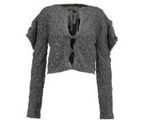 Titan Cropped Textured-knit Cardigan Anthrazit