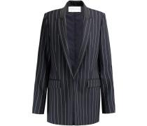 Pinstriped Satin-trimmed Wool-twill Blazer Mitternachtsblau