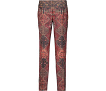 Printed Wool And Silk-blend Straight Leg Pants Mehrfarbig