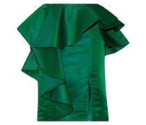 Esmeralda Ruffled Duchesse-satin Skirt Tannengrün