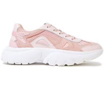 Woman Leather, Mesh And Suede Sneakers Baby Pink