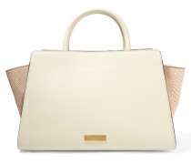Leather And Croc-effect Leather Tote Creme