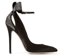 Magda Embellished Satin Pumps Schwarz