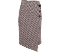 Wrap-effect Houndstooth Wool-blend Skirt
