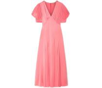Ruched Satin-crepe Midi Dress
