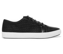 Tracie Leather-trimmed Mesh Sneakers Schwarz