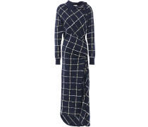 Woman Ruched Draped Checked Cotton-blend Midi Dress Midnight Blue