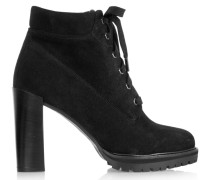 Lace-up Suede Ankle Boots Schwarz