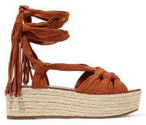 Cosie Lace-up Suede Sandals Braun