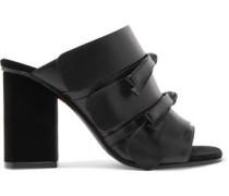 Bow-embellished leather mules