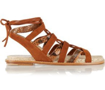 Lace-up elaphe and suede sandals