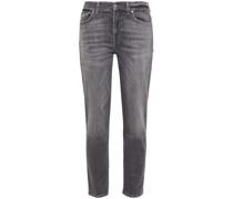 Roxanne Cropped Distressed Mid-rise Slim-leg Jeans