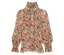 Floral-print Chiffon Blouse Rot